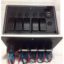 5 Gangue LED de Alumínio Do Barco Do Carro Marinho Portas USB Dupla & Rocker Switch Panel